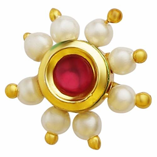 Accessher Ruby and Pearl Nose Pin Clip On Nose Ring Small Nath Kundan for Women