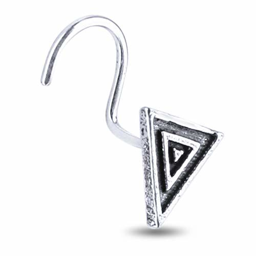 Nemichand Jewels 925 sterling Silver Triangle Antique oxidised Nose Pin for womens