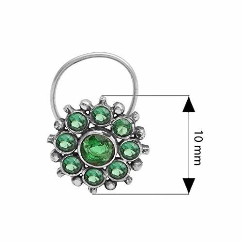 Shine Jewel CZ Gemstone 925 Sterling Silver Flower Design Oxidized Green Nose Pin for Women