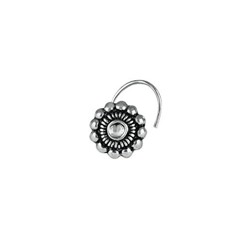 Abhooshan Pure 92.5 Sterling Oxidized Silver Tribal look Flower Shape Nose Pin for Women and Girls Stylish with Piercing Nose