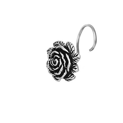 Abhooshan Big Oxidized Flower Nose Pin with wire in 92.5 Silver for women and Girls. Piercing Required