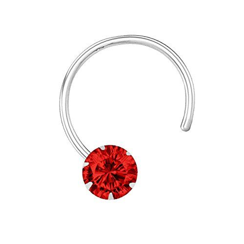 Silvoria 925 Sterling Silver Red Nose Pin For Women