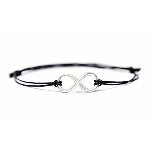 Meenakari Black Sterling Silver Infinity Charm Adjustable Thread Anklet for Women