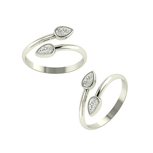PEEN ZONE WE DELIVER THE ACTUAL JEWELRY PeenZone 92.5-925 Sterling Silver Cubic Zirconia Toe Ring Leg Finger Rings for Women Girls
