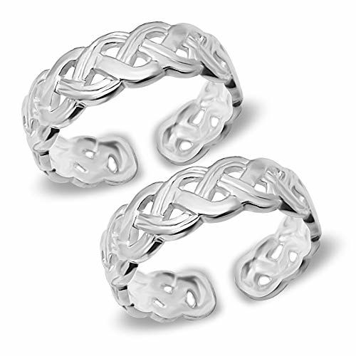 MJ 925 Criss-Cross Band Design Toe Rings in Pure 92.5 Sterling Silver for Women