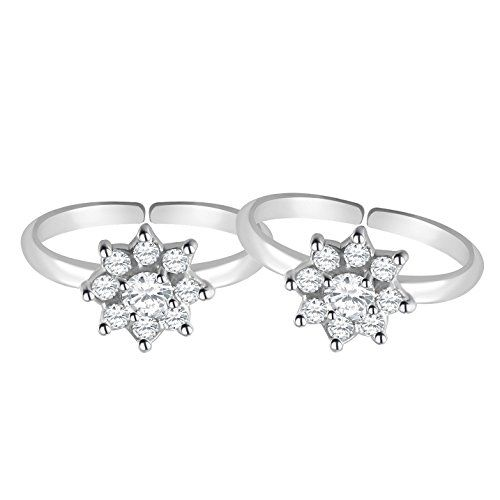 MJ 925 Sparkling CZ Toe Rings in 92.5 Sterling Silver for Women (White)