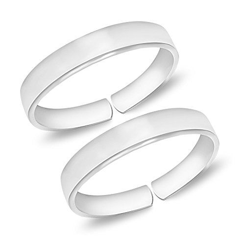 MJ 925 Plain Simple Comfortable Silver Toe Rings in Pure 92.5 Sterling Silver for Women (Leg Finger Ring)