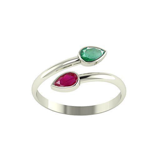 PEEN ZONE WE DELIVER THE ACTUAL JEWELRY PeenZone 92.5-925 Sterling Silver Emerald Ruby Toe Ring Leg Finger Rings for Women Girls