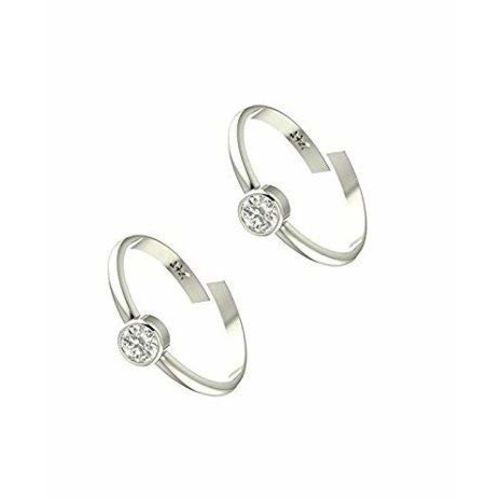 A-One Collection White Plain Sterling Silver Plated Toe Ring for Women