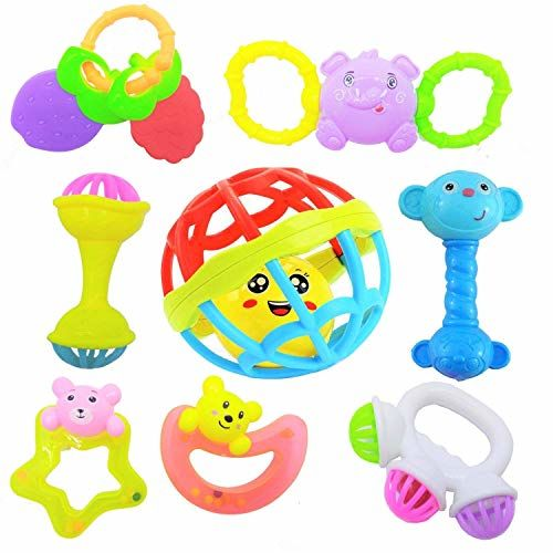 Supreme Deals Supreme Rattles and Teether for Babies, Set of 8 Pcs - Colourful Lovely Attractive Rattles and Teether for Babies, Toddlers & Children (up to 2 Year)