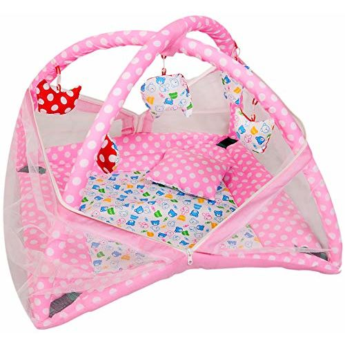 Vebeto Baby Kick and Play Gym with Mosquito Net and Baby Bedding Set (Pink)
