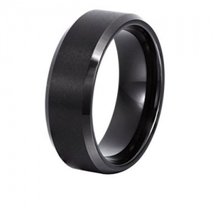Yellow Chimes 316L Stainless Steel Black Band Ring for Men and Women