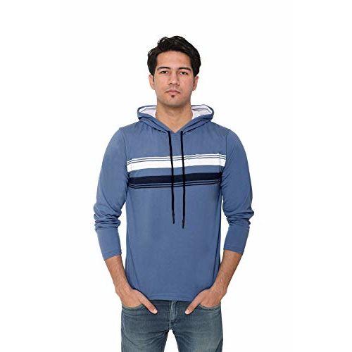 Generic HVBK Men Full Sleeve Hooded T-Shirt (AZ-5-C-M.Blue)