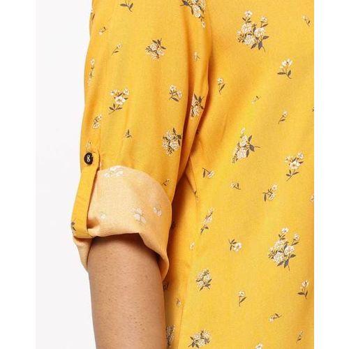 AVAASA MIX N' MATCH Floral Print Straight Kurta with Notched Neckline