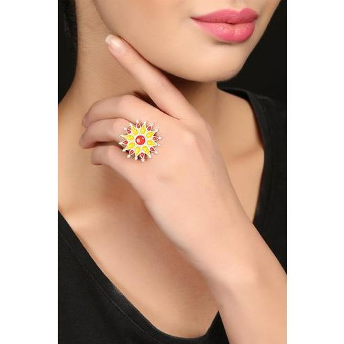 Yellow Enamel Sterling Silver Ring