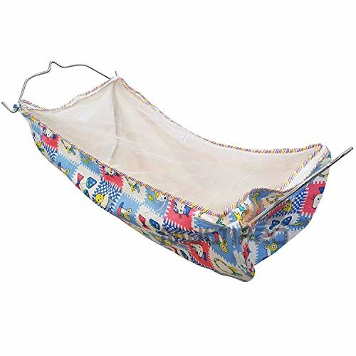 A to Z Hub Baby Boy's and Girl's Portable Folding Swing Baby Cradle Ghodiyu Palna with Hammock Having Mosquito Net,Square,Steel,Black + 1 Hammock Free,Come with