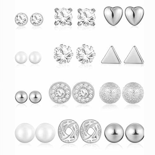 Jewels Galaxy Limited Edition AAA AD Heart Round and Geometric Brilliant 12 Pair of Stud Earrings For Women/Girls
