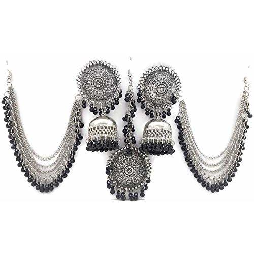 Total Fashion Earrings For Women Stylish Jewellery Earrings Afghani Kashmiri Tribal Jhumka Earrings And Maang Tikka Set Fancy Party Wear Earrings For Girls And Women