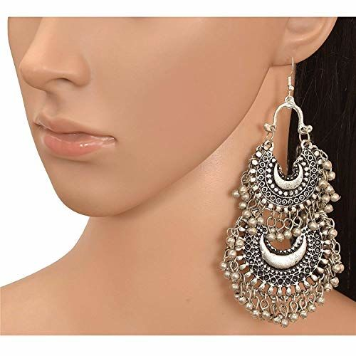 Fashion Factory Afghani Tribal Multicolour Oxidized Silver Dangle Chandbali Earrings for Women and Girls -Combo of 3