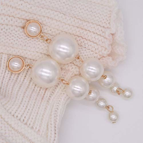 Jewels Galaxy Scintillating Chunky Statement Pearl Drop Earrings For Women/Girls