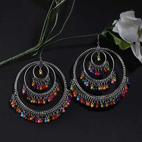 Yellow Chimes Oxidized Silver Combo of 2 Pairs Stylish Chandbali Jhumki Traditional Earrings for Women & Girls