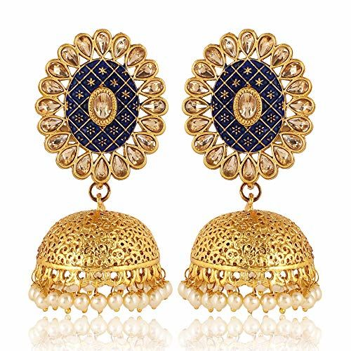 Shining Diva Fashion Latest Meenakari Traditional Pearl Jhumki Earrings for Women and Girls