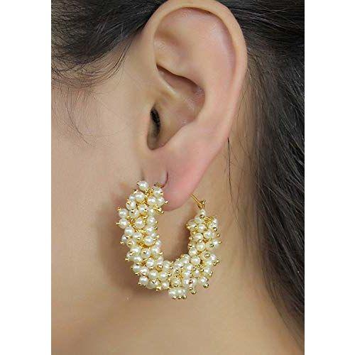 Siddhi Fashion Cairo Traditional Golden Pearl Jhumki Earrings for Women