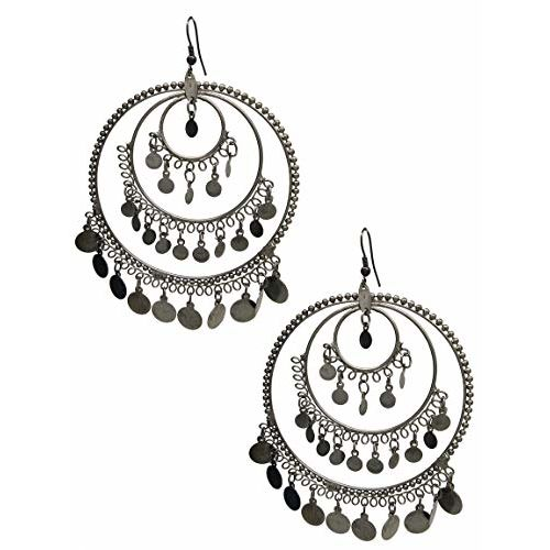 Total Fashion Unique Style Silver Metal Bead Big Round Hoop Earrings for Women & Girls