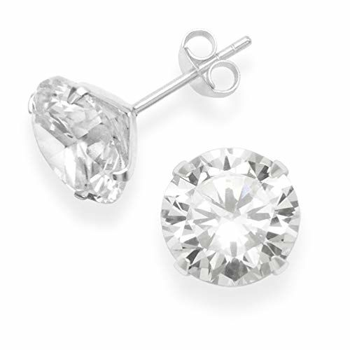 Abhooshan 925 Sterling Silver pair of Round shape Single White Cubic Zircon (CZ) Stone Solitaire Piercing Stud Earrings For Men, Women,Girls & Boys.Helix