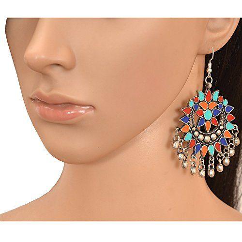 Tiaraz Green Red & Orange Oxidized Silver Dangle & Drop Earring For Women