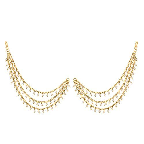 The Luxor Fashion Jewellery Traditional Latest Design Bridal Gold Plated Pearl Long Chain Jhumkha Jhumkhi Earrings for Women and Girls