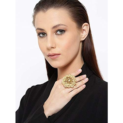 Yellow Chimes Traditional Kundan Studded Classic Style Gold Plated Crystal Cocktail Rings for Women & Girls