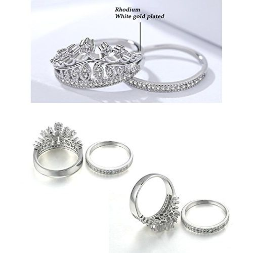 Yellow Chimes Luxury Crown Silver Plated Ring Set for Women & Girls