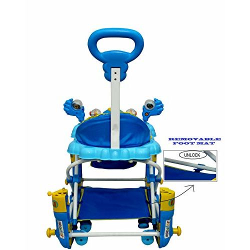 JoyRide Rock'n'Roll 2-in-1 Height-Adjustable Baby Walker and Rocker with Music, Light (Blue)