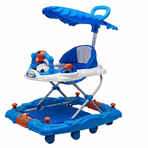 Love Baby Activity Walker for Kids with Canopy Adjustable Height Musical Tray and Light for 6 Months to 4 Years Kids (Blue)