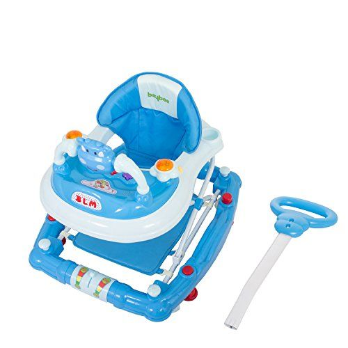 BAYBEE Forza The Anti Fall Baby Walker Cum Rocker with Adjustable Height and Musical Toy Bar Rattles and Activity Toys-Round Ultra Soft Seat Cycle (Blue)