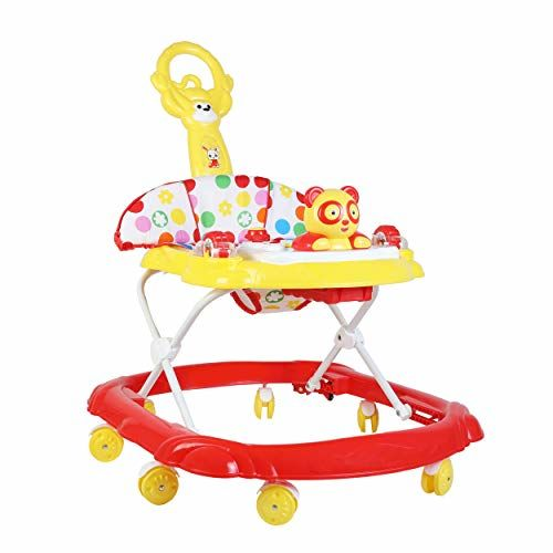 Generic Baby Walker with Music and Light with Adjustable Height and Push Handle Bar (Red & Yellow)