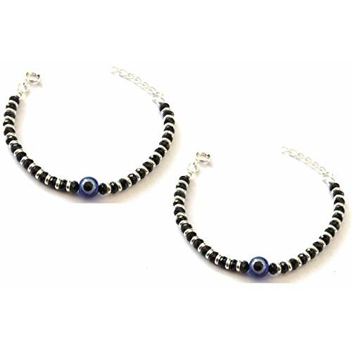 KUKSHYA 925 Exclusive Evil Eye Nazariya Bracelet with Black & Silver Beads (Crystal) in 92.5 Sterling Silver for Baby Boys & Girls