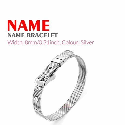 Dreamrax Silver Synthetic Metal Personalized Rhinestone Diamonds Shiny Name Bracelet for Girl's