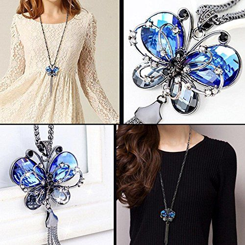 Shining Diva Fashion Jewellery Butterfly Pendent for Girls with Long Chain Pendant Party Necklace for Women & Girls(Blue)(9275np)