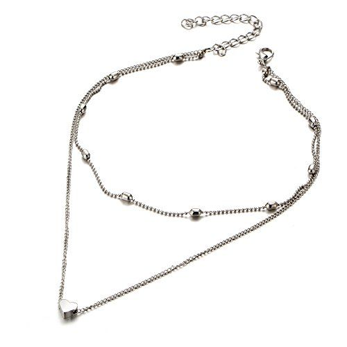 Jewels Galaxy Splendid Heart Inspired Double Layered Marvelous Necklace for Women/Girls