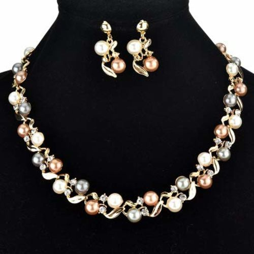 Yellow Chimes Exclusive Pearl Collection Gold Plated Necklace Set with Earrings Pearl Jewellery Set for Women and Girl's