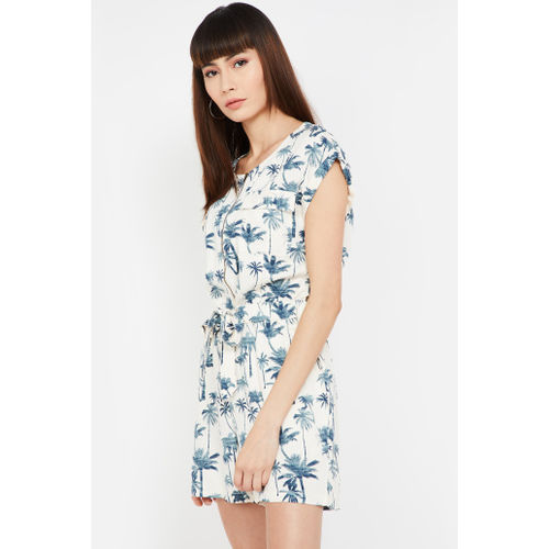 FAME FOREVER Tropical Print Playsuit with Sash Tie-Up