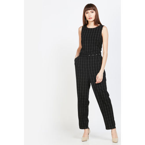 VERO MODA Checked Sleeveless Jumpsuit With Belt
