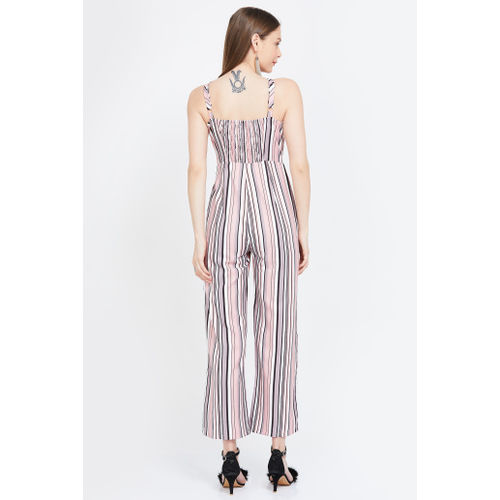 FABALLEY Striped Sleeveless Cropped Jumpsuit