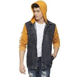 Campus Sutra Black Panelled Hooded Denim Jacket