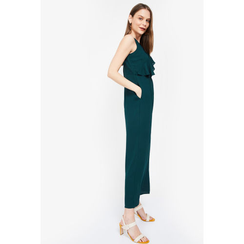 FABALLEY Textured V-neck Cropped Jumpsuit