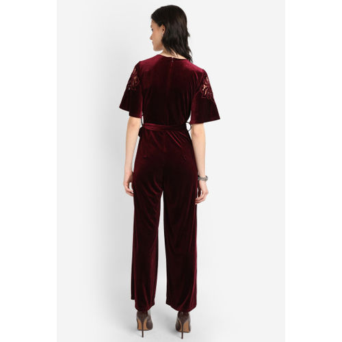 COVER STORY Women Surplice Neck Jumpsuit with Crochet Sleeves