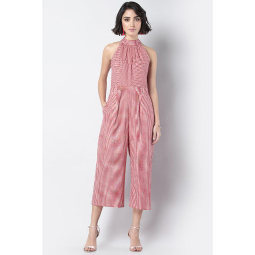 FABALLEY Checked Cropped Jumpsuit with Cutaway Neck