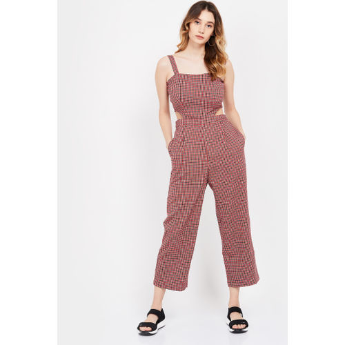 ONLY Checked Cropped Jumpsuit with Cutout